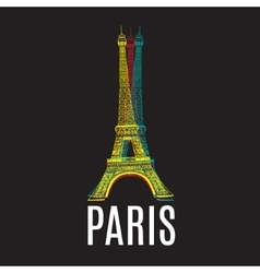 Logotype with Eiffel tower and text Paris vector