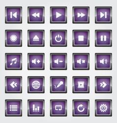 Media Button purple vector image