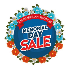 Memorial day sale with beautiful flowers vector
