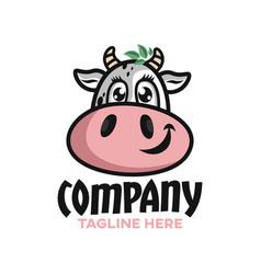 modern cute cow logo vector image