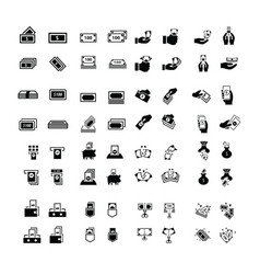 money icons set 64 item vector image