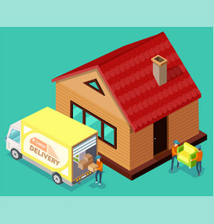 mover and delivery track moving in house vector image