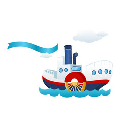 nautical ship ribbon flag and sea boat vector image