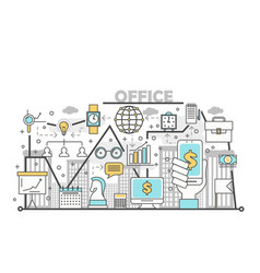 office concept in flat linear vector image