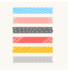 Patterned cute ribbons or torned paper tape set vector