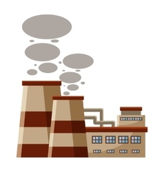 Plant produces smoke from chimneys icon vector