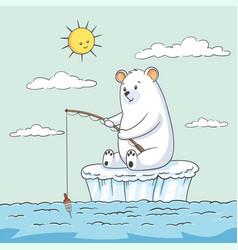 Polar bear fishing vector