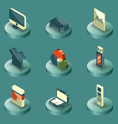 Polygraphy color isometric icons vector