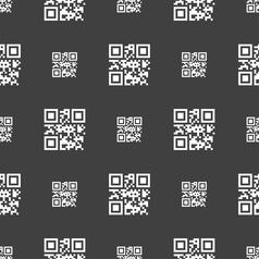 Qr code icon sign Seamless pattern on a gray vector image