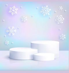realistic white podium on iridescent background vector image