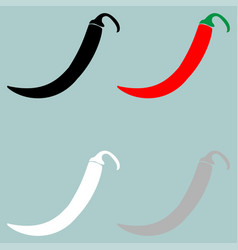 Red black grey white pepper or paprika icon vector