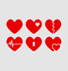 Red hearts set medical style vector