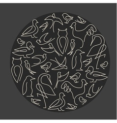 Round composition made of birds vector
