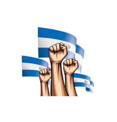 Salvador flag and hand on white background vector
