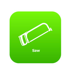 saw icon green vector image