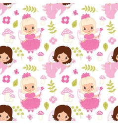 seamless pattern with fairy amanita flower and vector image