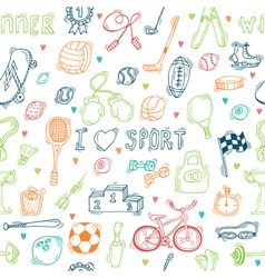 Seamless pattern with hand drawn sport equipment I vector