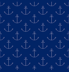 Seamless travel pattern with anchor line style vector