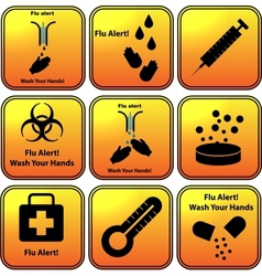 Set of flu alert icons vector