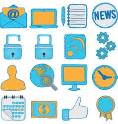 Set of hand drawn social media and business icons vector