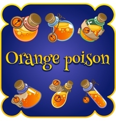 Set of six bottles with orange poison vector