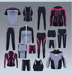 Set of sport wear collection vector