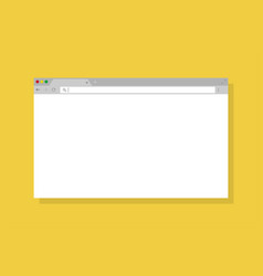 Simple browser window in flat design on yellow vector