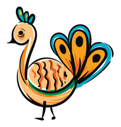 simple colorful cartoon peacock on white vector image
