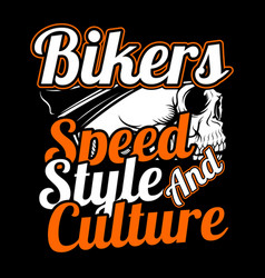 skull bikersspeedstyle and culture hand vector image