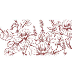 summer flowers line art wedding card ceremony vector image