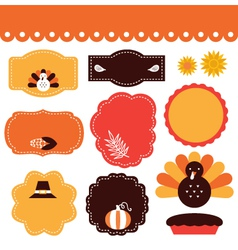 Thanksgiving retro tags and elements set vector