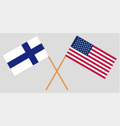 The finland and united states flags crossed vector
