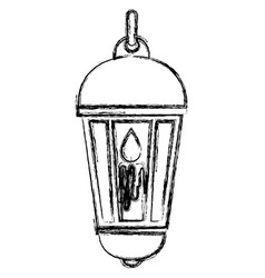traditional arabic lamp with candle hanging vector image