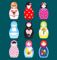 traditional russian matryoshka toy nesting doll vector image