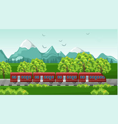 train traveling red vehicle on beautiful vector image