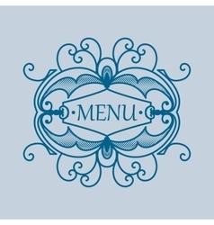Vintage blue frame with vegetable elements for vector
