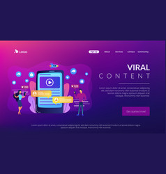 Viral content concept landing page vector