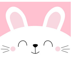 White bunny rabbit head face square icon pet baby vector