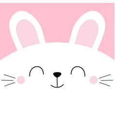 White bunny rabbit head face square icon pet baby vector