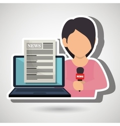 Woman news laptop report vector