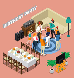 birthday party isometric composition vector image vector image