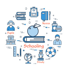 blue round schooling concept vector image vector image