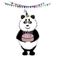 cute baby card with nice panda vector image vector image
