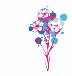 Flowers with ink drop colours vector