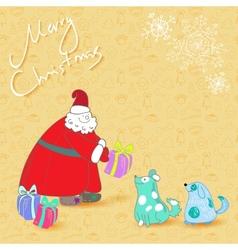 fun christmas card santa and blue dogs vector image vector image