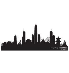 hong kong china city skyline silhouette vector image