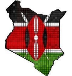 Kenya map with flag inside vector image vector image