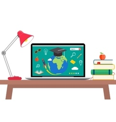Online education flat horizontal banner set with vector image