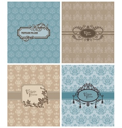 vintage invitation cards vector image vector image