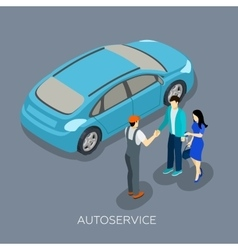 Auto service Isometric Mechanic Customers vector image